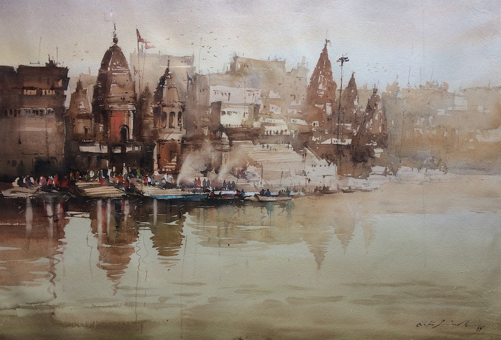 art watercolor painting banaras ghat