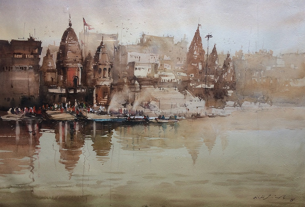 You can experience watercolor artwork of vibrant varanasi ghat painting. My paintings has been highly influenced by indian temple art. This original watercolor paintings is for sale and art lover can access many such paintings in nitin singh online art gallery.