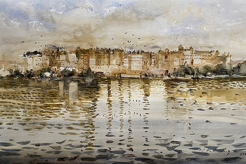 City Palace mahal Udaipur watercolor painting