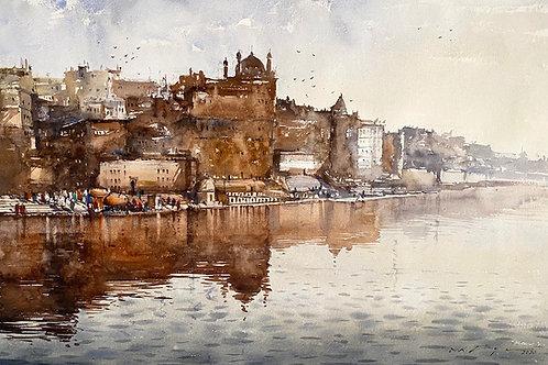 Varanasi ghat watercolor painting for sale