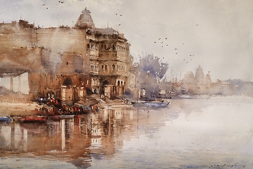 Keshi Ghat, Vrindavan water color painting for sale