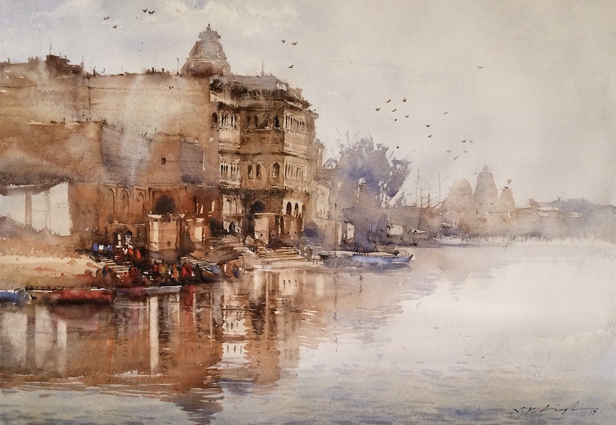 Vrindavan ghat watercolour art on paper. This watercolour artwork is inspired from keshi ghat in vrindavan.
