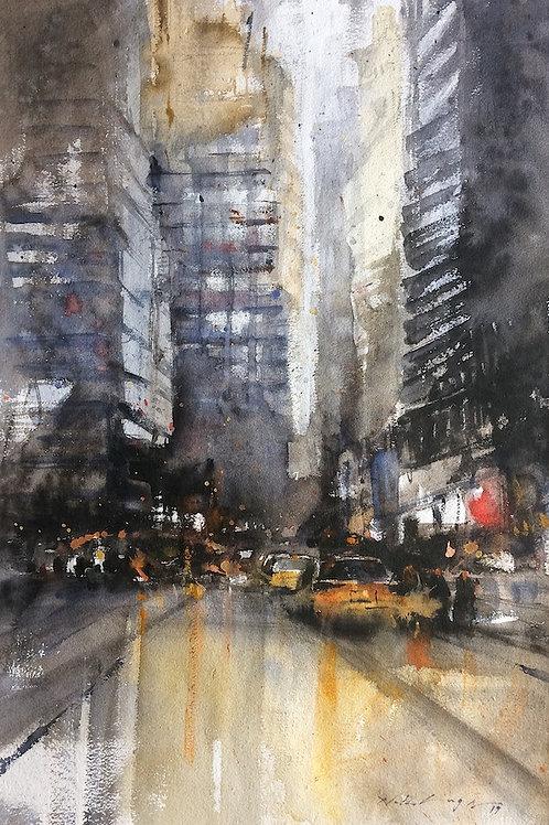 Mumbai city street original watercolor painting for sale