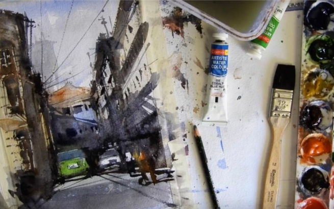 Three layers of watercolor techniques to paint city streets & narrow lane. You will also see how to draw them before going to paint.