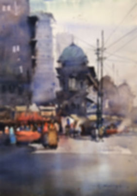 city scape watercolor painting for sale. A large watercolor painting perfect for your wall decoration