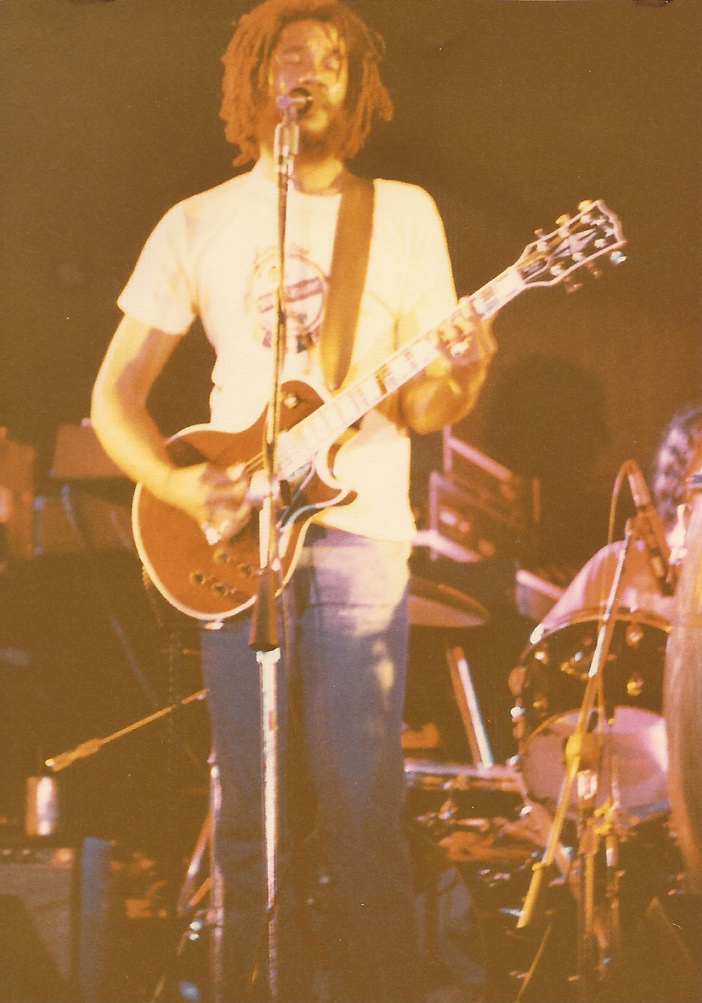 Playing in The I-tal Reggae Band (1980).