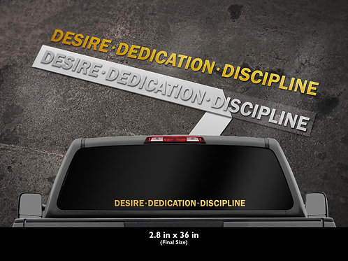 "H2HCTC Plotted window decals ""Desire Dedication Discipline"""