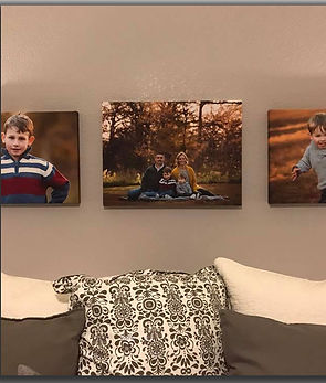 Family portrait canvas prints during Fall