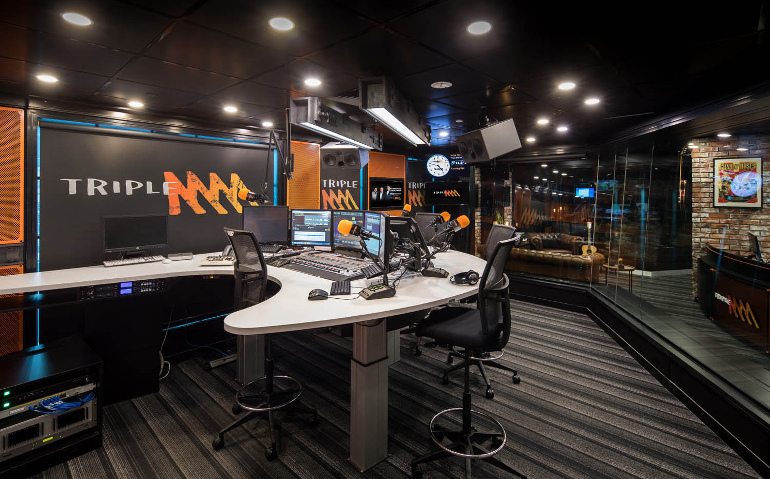 TRIPLE M BROADCASTING STUDIO - Melbourne  design, custom build, install & style  MAY 2017