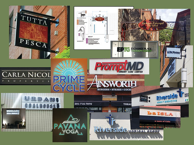 Electric signs, drawings, Channel letters, on locations.