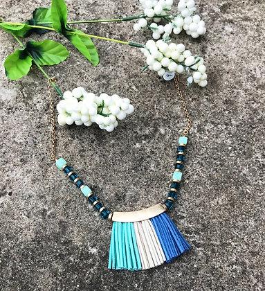 Multi Blue Fringe Necklace