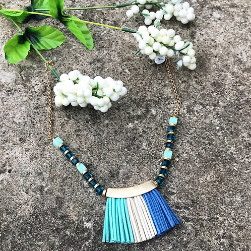 Multi Blue Fringe Necklace
