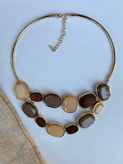 Brown Stone Wood Accent  Necklace