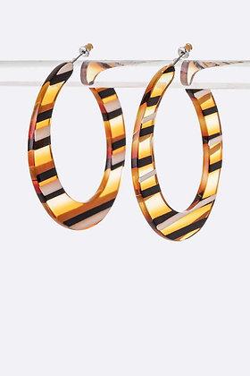 Stripe Print Resin Flat Hoops Earrings