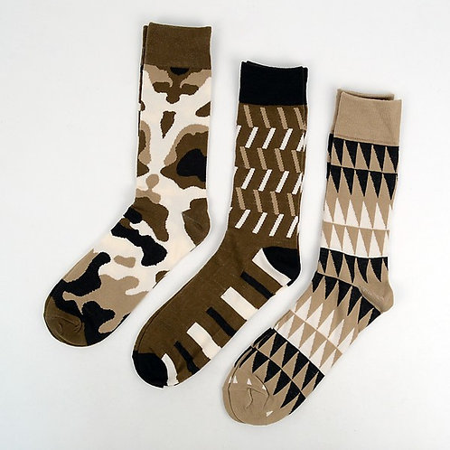 Pattern Taupe Men's Dress Socks