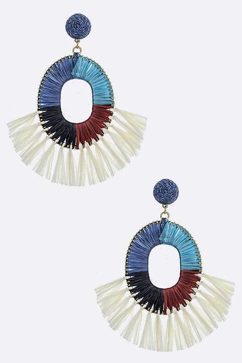 Color Block Tassel Earrings