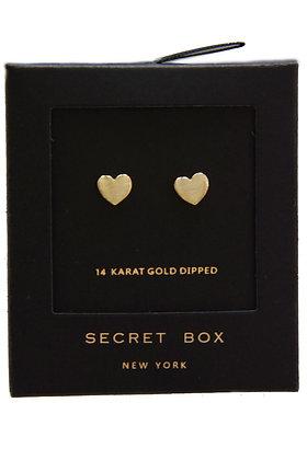 14K Gold Dipped Heart Stud Earring