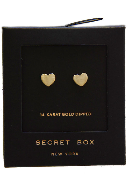 14K Gold Dipped Heart Stud Earring