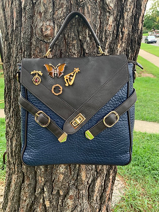 Navy Brown Faux Messenger Bag