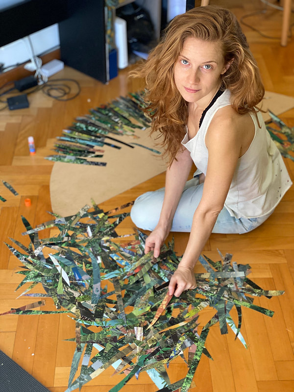 Cassandra Pereira creating collage piano