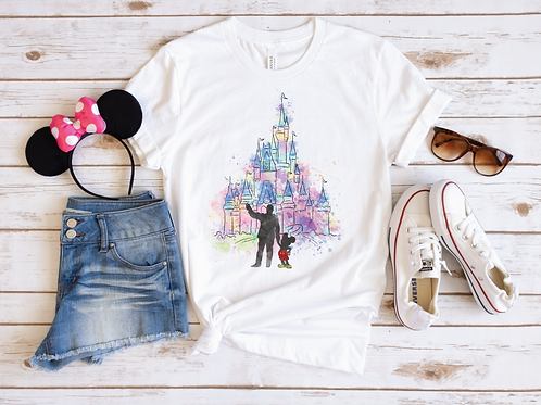 Castle and Mickey Watercolor Tee