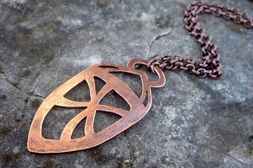 Sheild- Copper Pendant- aged metalwork