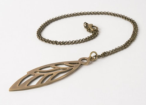 Glide - Large Brass wing pendant