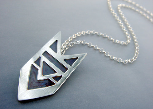 Layered pendant - sterling silver and copper
