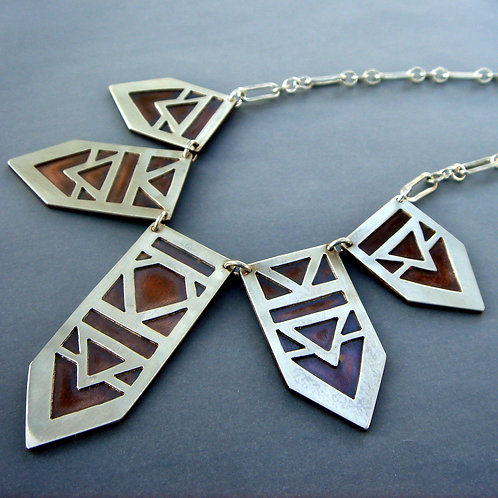 5 piece collar - sterling silver and copper