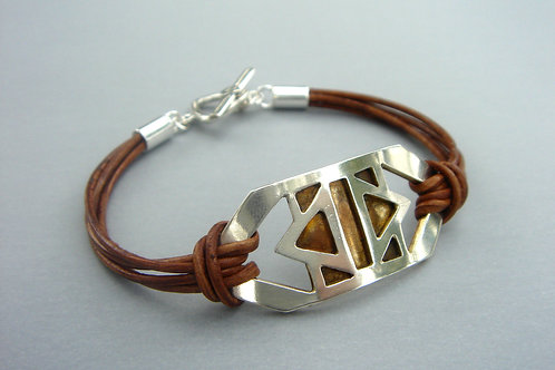 Courage Bracelet- tribal - sterling silver and lea