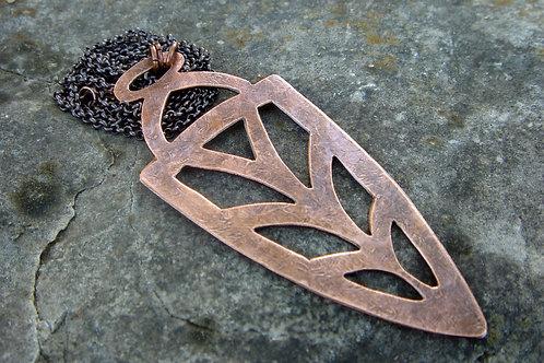 Arrowhead- Copper Pendant- aged metalwork