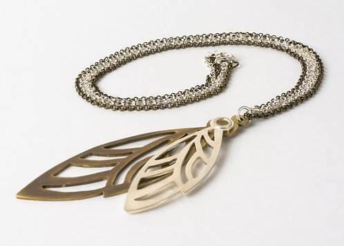 Cicada - Sterling silver and brass necklace