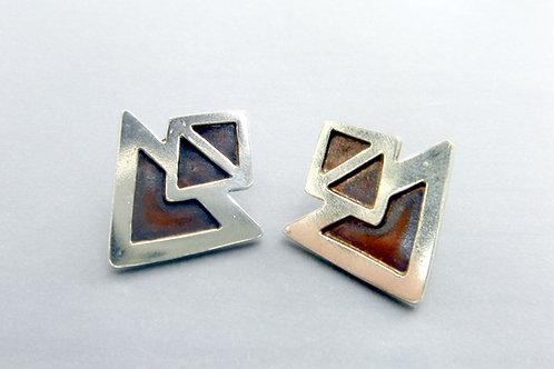 Compass Stud Earrings - Sterling silver