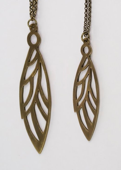 Fly - Small Brass wing pendant