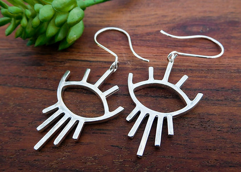 Silver eye dangle earrings - sterling silver -Be mindful collection