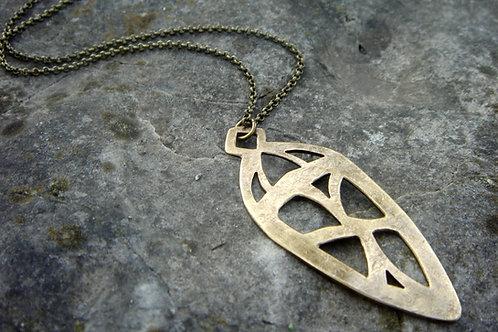 Yore- Brass Pendant- aged metalwork