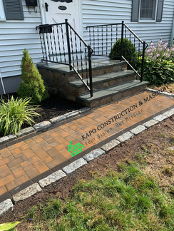 Bluestone Steps & paver walkway & cobblestone edging
