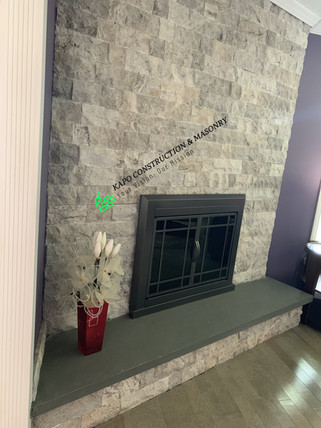 Stone veneer fire place