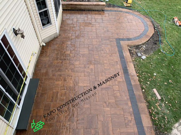 Paver patio, bluestone step & sitting wall