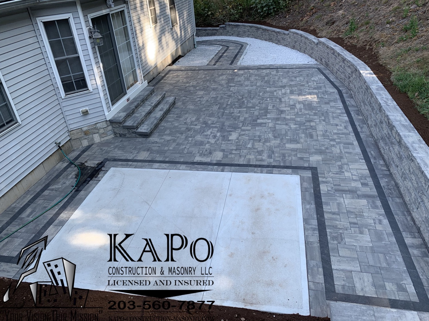 Paver Patio, Paver Walkway, Concrete Slab, Retaining Wall, Steps, Stone Veneer and Cobblestone Edgin
