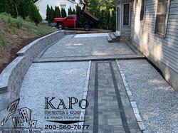 Paver Patio, Paver Walkway, Concrete Slab, Retaining Wall, Steps, Stone Veneer and Cobblestone Edgin