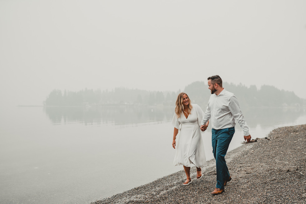 Seattle, Wedding, Elopement, Bride, Groom, Dress, Walk, Beach, Fog, Destination, PNW, Photographer