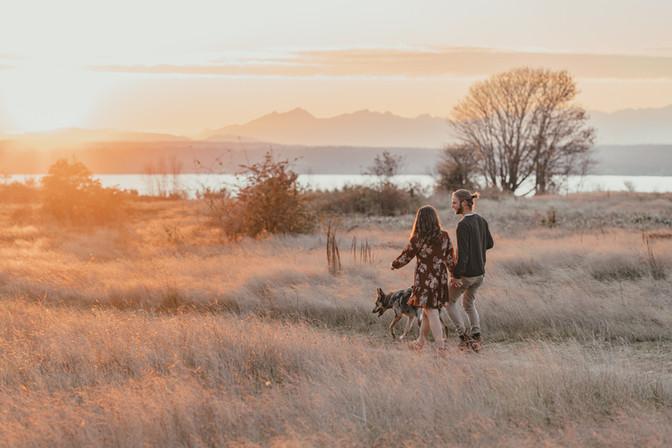 Seattle, Engagement, Boyfriend, Girlfriend, Walking, Dog Sunset, Discovery Park, Photographer, PNW