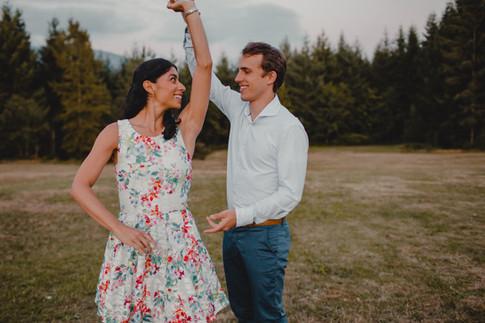 Seattle, Snoqualmie, Engagement, Boyfriend, Girlfriend, Dancing, Smile, Photographer, PNW