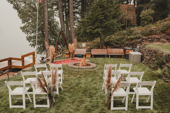 Seattle, Wedding, Elopement, Outdoors, Venue, Chairs, Flowers, PNW, Photographer