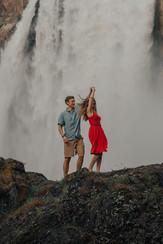 Seattle, Snoqualmie, Engagement, Boyfriend, Girlfriend, Waterfall, Snoqualmie Falls, Dancing, Photographer, PNW