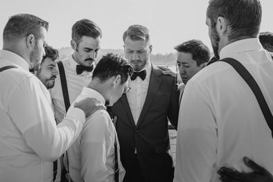 Portland, Wedding, Groom, Groomsmen, Best Man, Praying, Prayer, PNW, Photographer