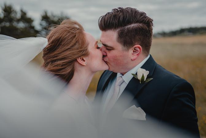 Seattle, Wedding, Elopement, Bride, Groom, Dress, Veil, Field, Clouds, Outdoors, Venue, Farm, PNW, Photographer