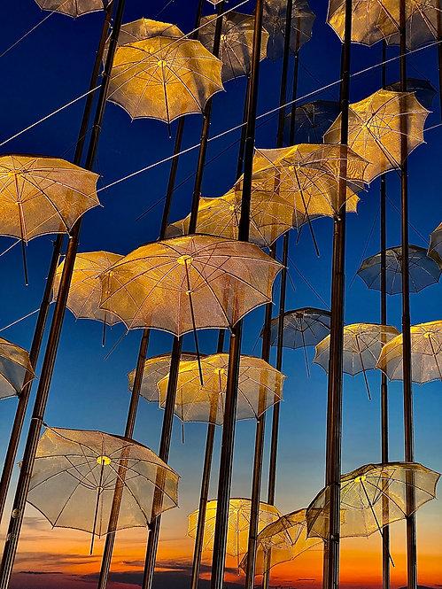 Sunset with umbrellas