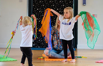 Toddlers and children enjoying scarf play time at Baby Sparks Sensory Little Movers class.JPG